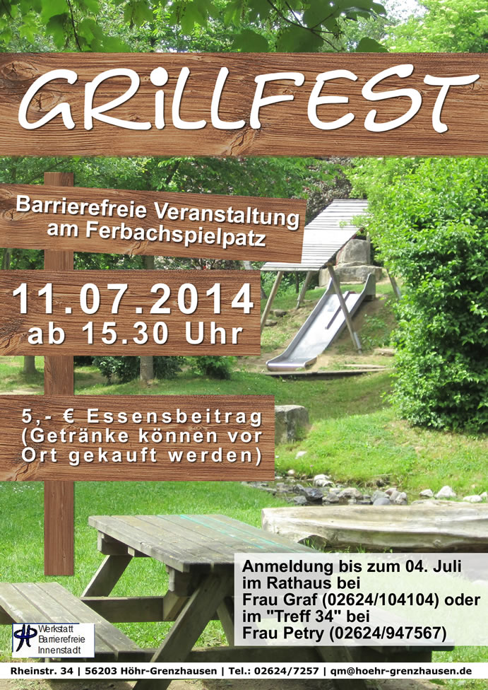 barrierefreies grillfest am ferbach | quartiersmanagement höhr, Einladung