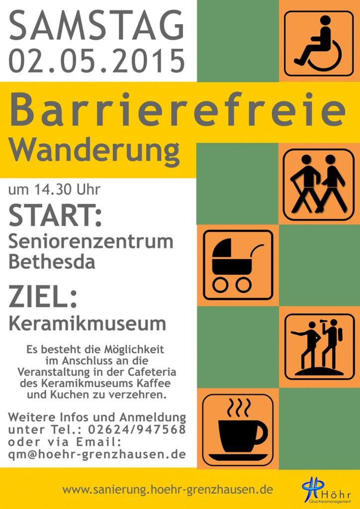 Plakat Barrierefreie Wanderung niedrig